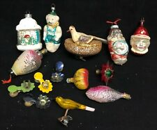 Antique Christmas Ornaments - Birds, Candle Clips, Figural Bulbs, Clowns & more