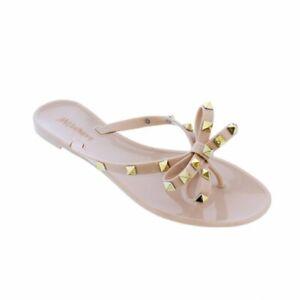 NEW Liliana Jelli-40 Nude Studded Bow Jelly PVC Sandal
