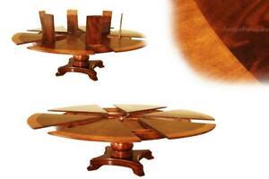 Extra Large Round Mahogany Jupe Table; Seats 8-12 people, Expandable