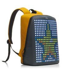 Pix smart urban backpack with customizable screen, yellow