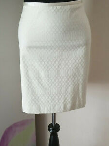 J. McLaughlin Women's Skirt Straight & Pencil Lined Latice Textured Ivory Size 8