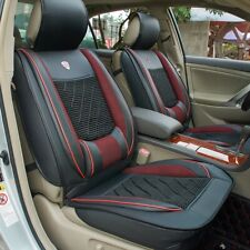 1x PU Leather Car Seat Cover Cushion Back Support Waist Massage Waterproof Black