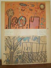 Juvenile Outsider Folk Art 1960s Mid Century Eames era Retro Double painting