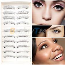 Makeup 10 Pairs Natural Long Fake Eye Lashes Handmade False Eyelashes Black