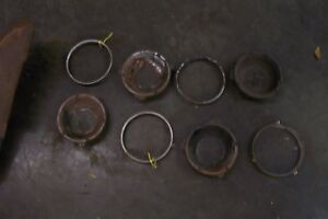 69 PONTIAC FIREBIRD, TA, GTO,  HEADLIGHT BUCKETS, TRIM RINGS  8 PIECE SET