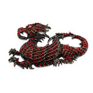 Welsh Dragon Red Crystal Brooch Pin Badge - Gift Bag