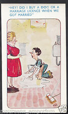 Comic Postcard - Marriage / Husband and Wife / Domestic Chores / Dog A8681