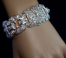 Art Deco 1920s Vintage Wide Platinum Diamond Bracelet