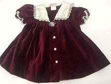 95615d2f032 New ListingVintage Velvet Dress Girls Burgundy Maroon Lace Ruffle Bib  Collar Flowers 6-9 Mo