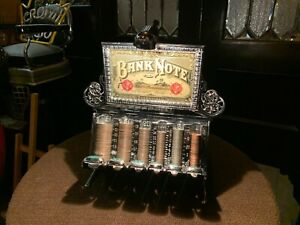 """Original 1800's STAATS Cast Iron Coin Changer Bank w lit Marquee """"Watch Video"""""""