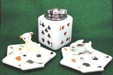 Vtg ATC Super Deluxe Automatic Japan Porcelain Poker Table Lighter & Ashtrays