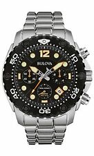 Bulova Men's 98B244 Sea King Quartz Chronograph Black Dial Stainless Steel Watch
