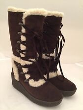 Donald J Pliner Woman's Suede Faux Fur Wedge Boots Brown Size 6 See Details