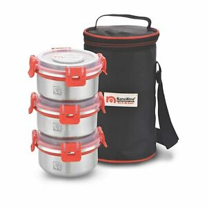 NanoNine Clip Lock Single Wall Stainless Steel Lunch Box With Bag 260ml Set Of 3