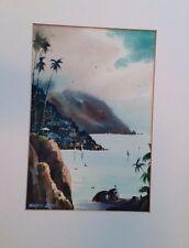 Georgeous watercolor Gem by Robert Landry of California Coast. California Art.