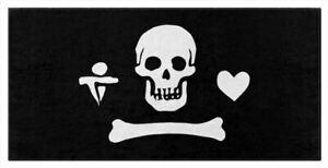New Black GENTLEMAN PIRATE Bath or Beach Towels, Skull Dagger Heart Jolly Roger