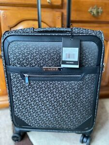 DKNY Black Signature Cabin Carry On Suitcase Holiday Travel Bag 4 Wheeler Lock