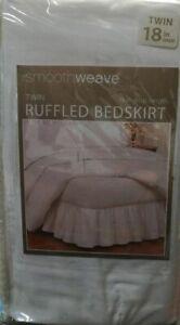 smoothweave 18-Inch Ruffled Twin Bed Skirt in White (LOC TUB-104)