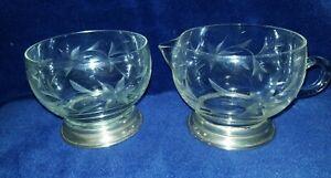 Antique Sterling Silver Base~Etched Glass Sugar/Creamer