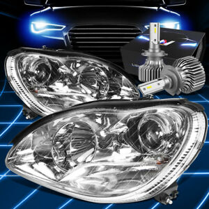 Fit 2000-2006 Mercedes Benz S430 Projector Headlight W/LED Kit Slim Style Chrome
