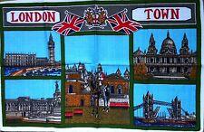 """VINTAGE """"London town"""" Tamise Big Ben Horse Guards années 1960 Coton Torchon"""