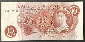 Bank of England. Ten Shillings. B311. Fforde. M56 250681. First Run Fine. (BN68)