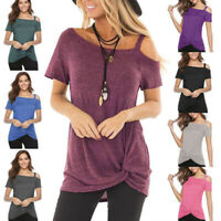 Womens Short Sleeve Tunic Tops Off the Shoulder Casual Loose Blouse T Shirts US