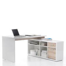 Winkelschreibtisch Tokyo Büro Schreibtsich mit Sideboard glanz-weiß und San Remo