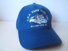 USA Tank Wash Haines City Florida Truck Hat Vintage Blue Snapback Trucker Cap