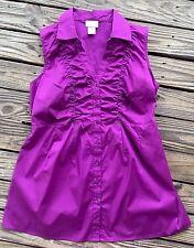 Motherhood Maternity Purple Sleeveless Empire Waist Button Down Shirt sz M