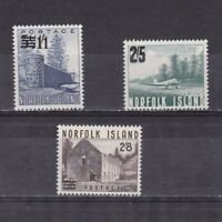 NORFOLK ISLAND 1960, SG# 26-28, surcharged, architecture, MNH