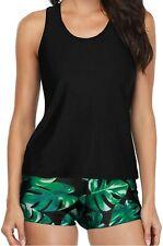 Yonique 3 Piece Athletic Tankini Swimsuit for Women Sport Swimwear with Boyshort