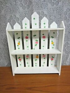 White Picket Wood Fence Wall Mount or Free Standing Shelf- Floral Design