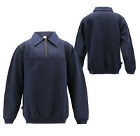 Men's Lightweight Collared Sweatshirt Half Zip-Up Cotton Blend Pullover Sweater