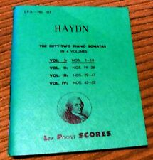 Haydn The fifty-twoPiano sonatas in 4 volumes Volume I, Lea Pocket Scores