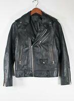 Unbranded Women's Small Black Leather Biker Jacket Zipper Sleeves Short Coat