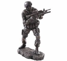 """Soldier in Combat Hand Painted Resin Figurine Miniature Statue 7""""H New"""