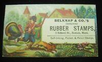 Boston, MA Victorian Trading Card Belknap & Co. Rubber Stamps Hunter Boy B2