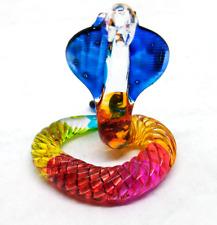 tiny snake hand  blown clear glass miniature figurine crystal  dollhouse animal