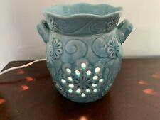 Scentsy Turquoise Aqua blue W/Handle Flowers Warmer Excellent Beautiful 🌺