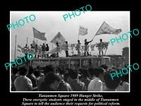 OLD POSTCARD SIZE PHOTO OF 1989 TIANANMEN SQUARE PROTESTS HUNGER STRIKE