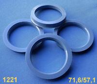 4 Stück  Zentrierringe 71,6 mm  57,1 mm grau für Alufelgen 1221