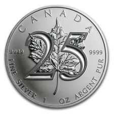 2013 1oz Silver Maple Leaf 25th Anniversary FlexSeal $5 9999 Fine Silver BU Coin