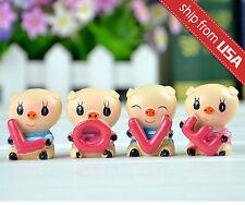 Kawaii Cute Love Pig Zakka Home Car Decoration Figurine Set Cartoon Novelty Gift