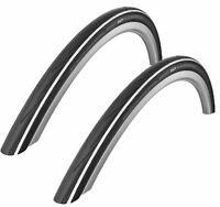 PAIR Schwalbe Lugano BLACK / WHITE 700 x 25c 2016 Kevlar Guard Road Bike Tyres