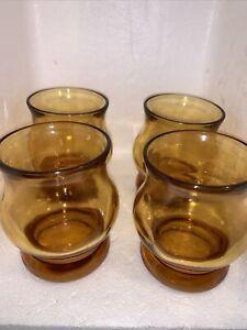 VINTAGE SET Of 4 Heavy Amber Glasses 1960's