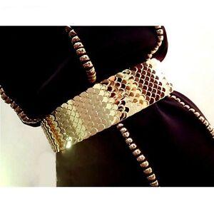 Lady Gold Waist Belt Wide Punk Gothic Corset Vintage Scale Elastic Shiny Fashion