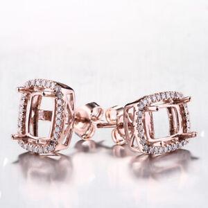 Solid 10K Rose Gold 5x7mm Cushion Vintage Filligree Diamonds Semi Mount Earring