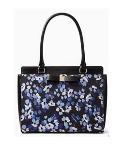 Kate Spade Montford Park Black, White & Purple Floral Jovie Leather Tote NWT