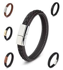 Fine Leather Bracelet Braided Wide Cowhide Stainless Steel Men's Black Silver